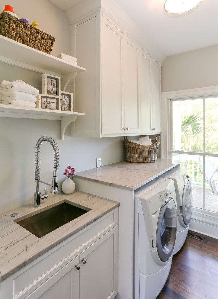 Lowes Stock Price Today for a Traditional Laundry Room with a Dark Wood Floor and Hwc Folly Kitchen by Matthew Bolt Graphic Design