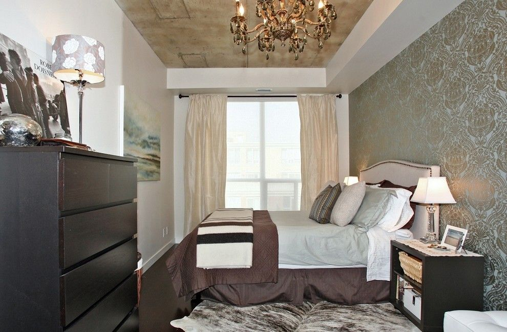 Lowes Surprise Az for a Rustic Bedroom with a Beige Upholstered Headboard and King West Loft by High Street Design