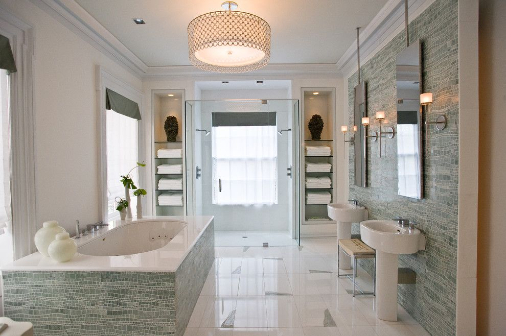 Lowes Vallejo for a Modern Bathroom with a New York and Sinuous Spa by Artistic Tile