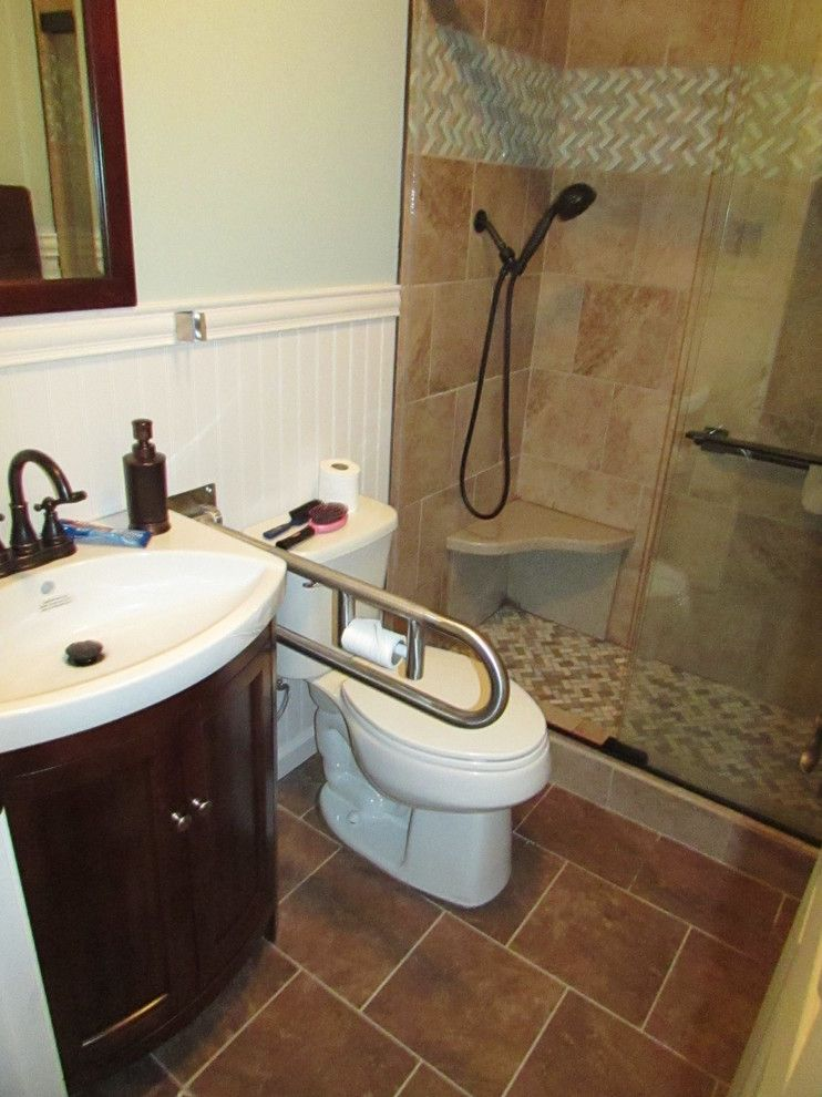 Lowes Williamsburg Va for a Transitional Bathroom with a Us Marble and Grubb Bathroom Project   After by Lowe's Home Improvement Bluefield, Va