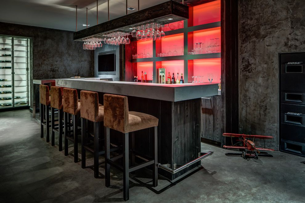 Lumiere Lighting for a Contemporary Home Bar with a Gray Walls and Vdh / Deappelboom by De Appelboom