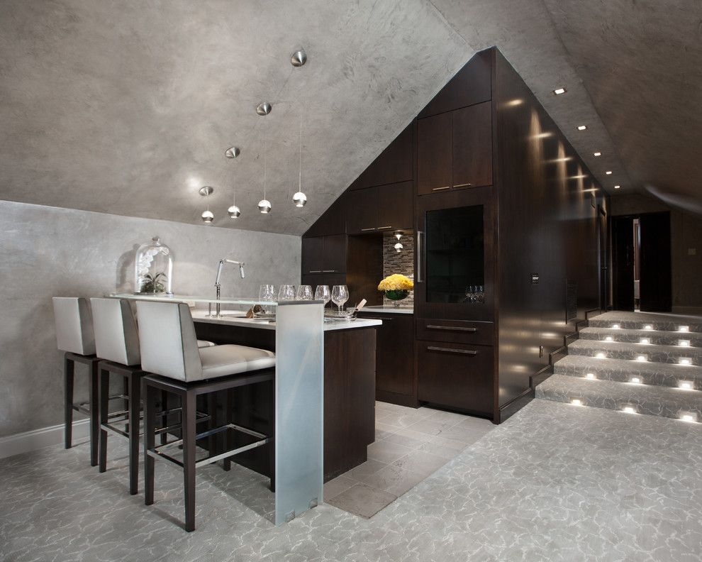 Lumiere Lighting for a Contemporary Home Bar with a Sloped Ceiling and Residence 4 by Posh Exclusive Interiors