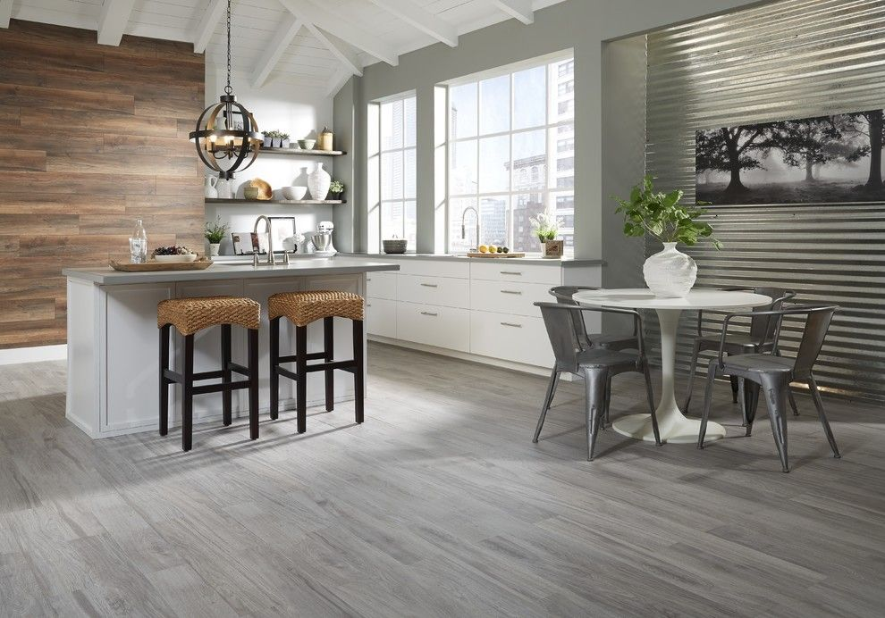 Lumiere Lighting for a Contemporary Kitchen with a Corrugated Metal and Lumber Liquidators by Lumber Liquidators