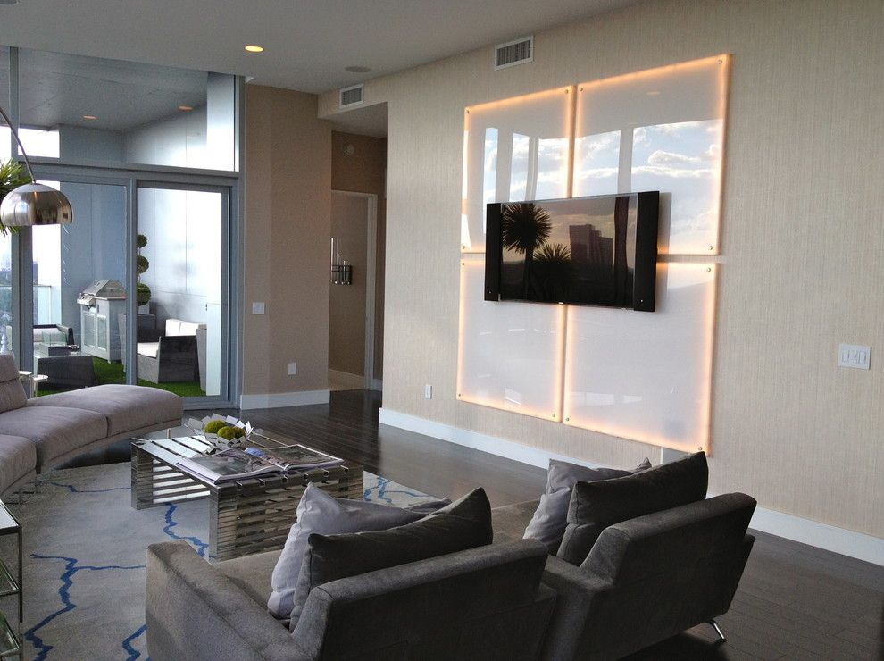 Lumiere Lighting for a Contemporary Living Room with a Gallery Wall and Living Room by Mauricio Nava Design, Llc