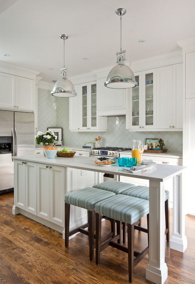 Lumiere Lighting for a Transitional Kitchen with a White Cabinets and Vanessa Francis by Stephani Buchman Photography