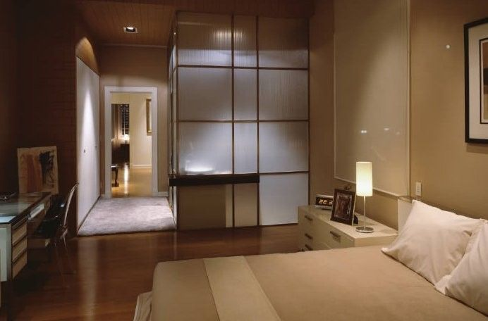 Lutron Homeworks for a Contemporary Bedroom with a Shoji Wall Screen and Contemporary and Modern Lighting by Northwest Lighting and Accents