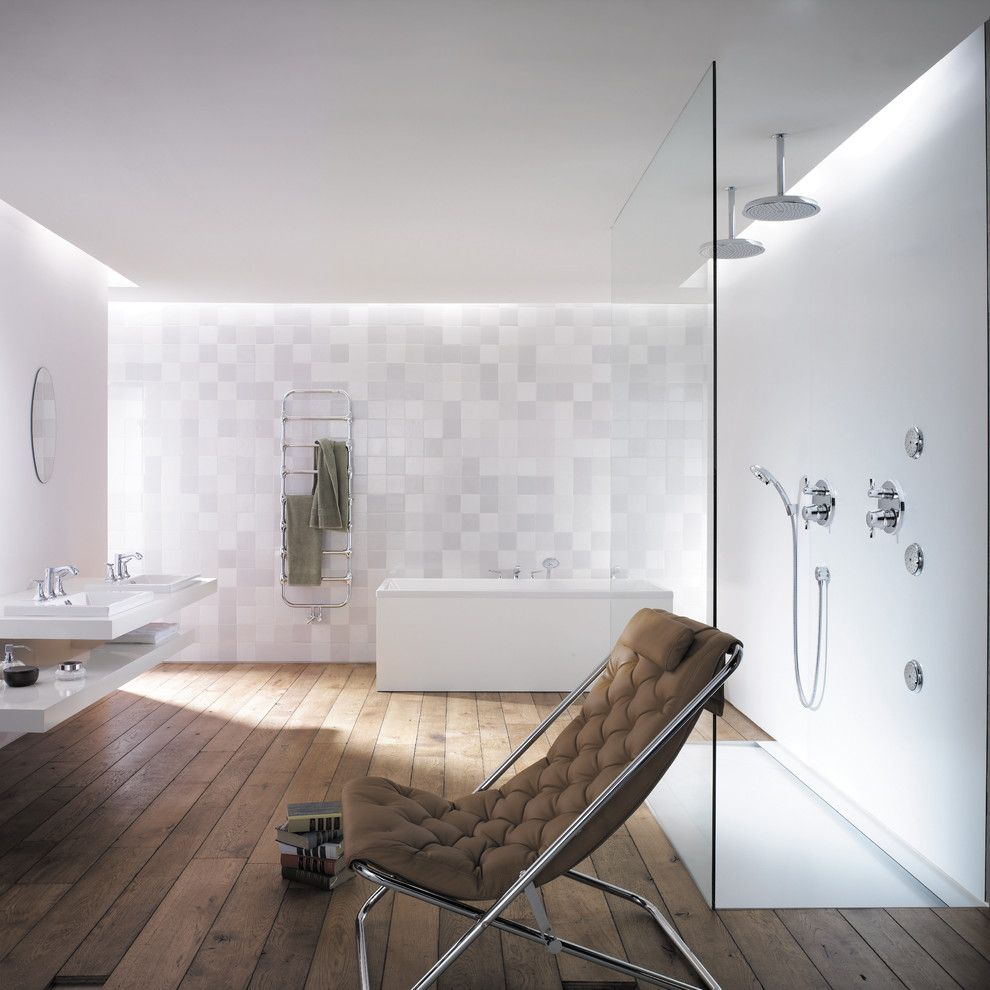 Lutron Homeworks for a Modern Bathroom with a White Wall Tile and Hansgrohe by Hansgrohe Usa