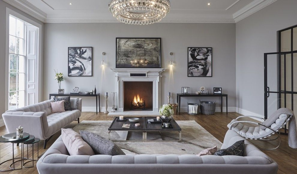 Luxe Hotel Sunset for a Contemporary Living Room with a Georgian Home and Grade Ii Listed, Hertfordshire Home by Cherie Lee Interiors