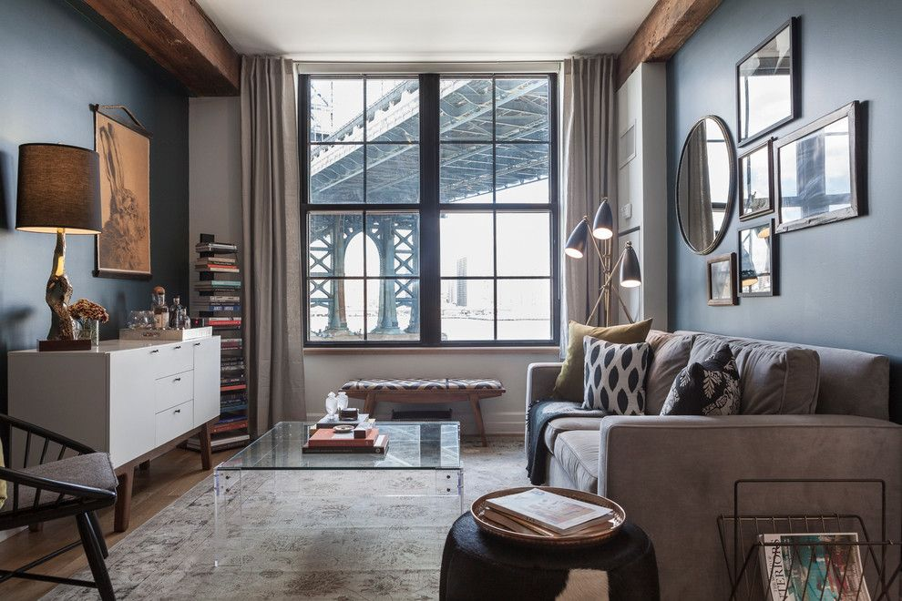 Macys Furniture Store for a Transitional Living Room with a Rug and Dumbo Warehouse by Sheep + Stone