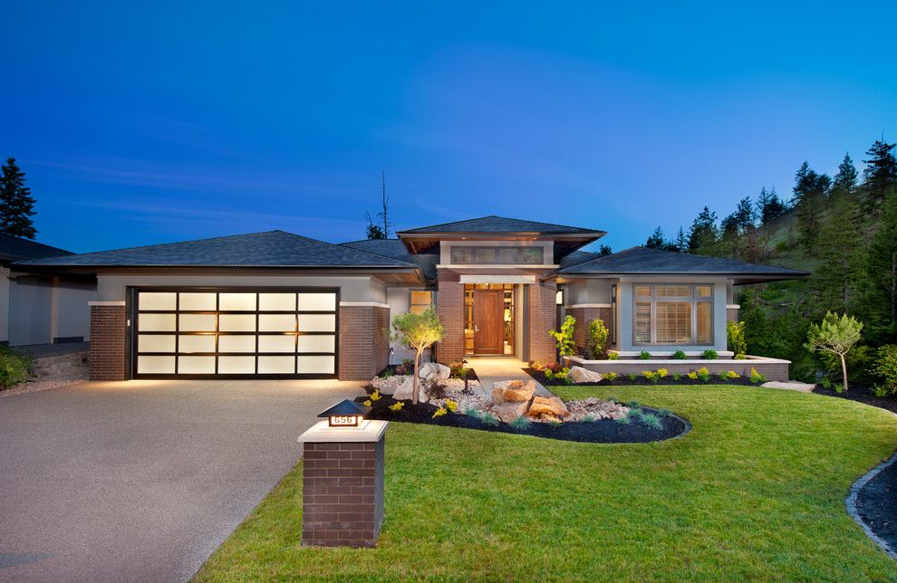Mail Boxes Near Me for a Contemporary Exterior with a Lawn and the Cooper Show Home by Sticks and Stones Design Group Inc.
