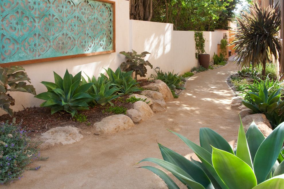 Mail Boxes Near Me for a Mediterranean Landscape with a Path and Art Walk by Margie Grace   Grace Design Associates