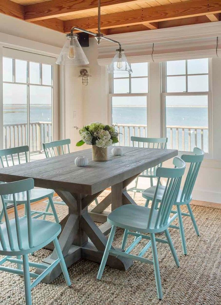 Maine Drilling and Blasting for a Beach Style Dining Room with a Ocean View and Edgartown Waterfront by Martha's Vineyard Interior Design