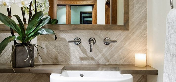 Maine Drilling and Blasting for a Contemporary Powder Room with a Lever Faucet and Black Swan Residence, Aspen by Anne Grice Interiors