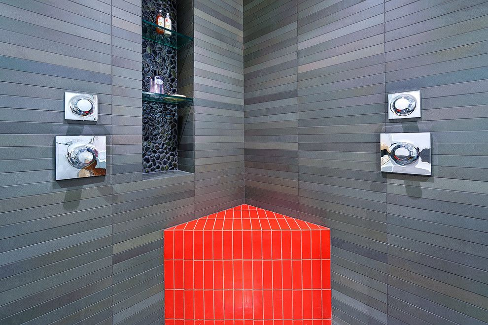 Maine Drilling and Blasting for a Modern Spaces with a Pebble Tile Backsplash and Red Bench and Pebble Niche by Michael Tauber Architecture