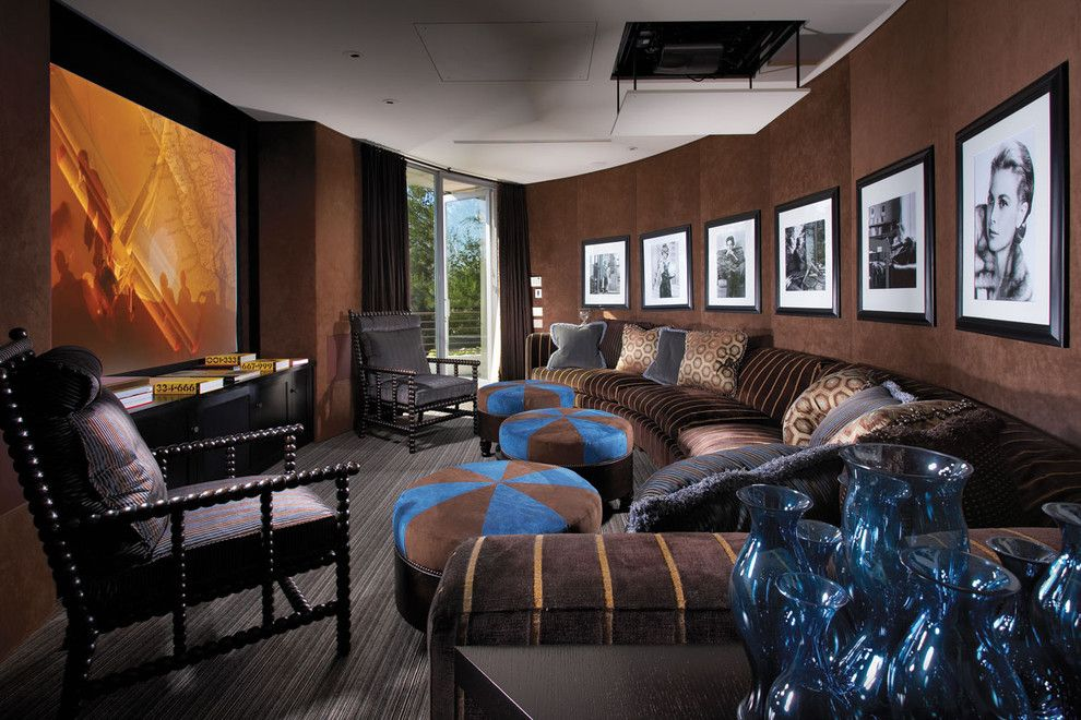 Majestic Theater Seating for a Contemporary Home Theater with a Striped Throw Pillow and Smithcliffs by Prestige Builders