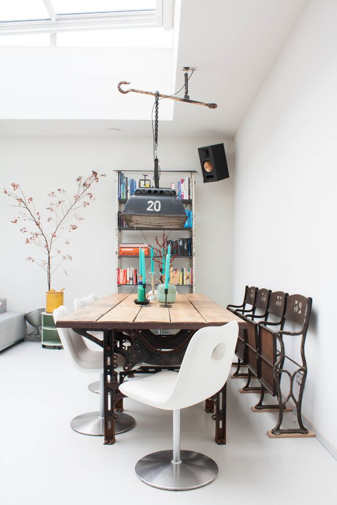Majestic Theater Seating for a Eclectic Dining Room with a White Dining Chairs and My Houzz: A Dark Storage Space Transformation to a Crisp White Loft by Louise De Miranda