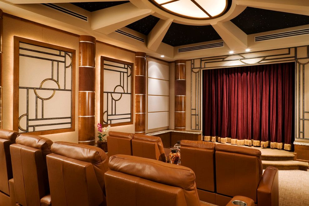 Majestic Theater Seating for a Mediterranean Home Theater with a Art Deco and Harbourage Isle by Gregory A. Jones Architecture