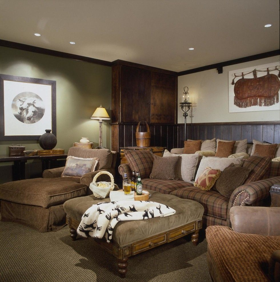 Majestic Theater Seating for a Rustic Home Theater with a Framed Artwork and European by Interior Concepts, Inc.
