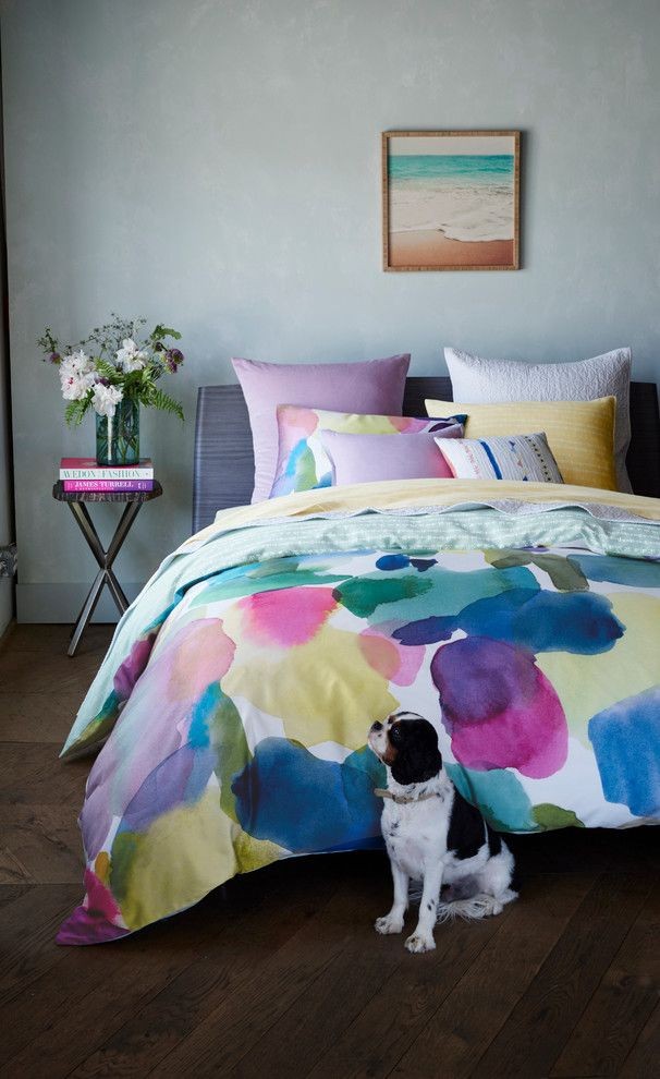 Malm Bed Ikea for a Contemporary Bedroom with a Contemporary and Bluebellgray Rothesay Bedding Collection by Bloomingdale's
