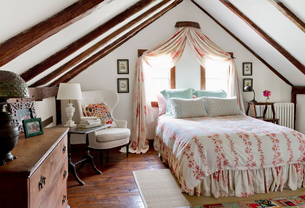 Malm Bed Ikea for a Farmhouse Bedroom with a Attic Bedroom and My Houzz: Global Details Add Character to a Connecticut Farmhouse by Rikki Snyder