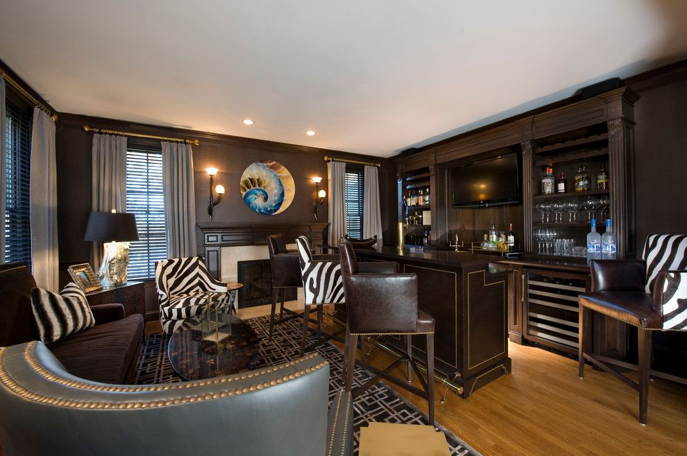 Mancaves for a Contemporary Family Room with a Oly and Man Cave by Kellie Burke Interiors