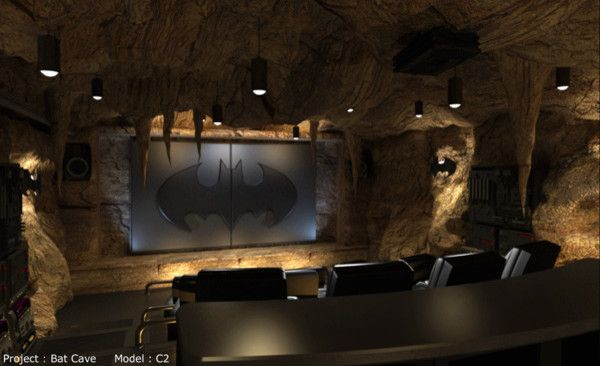 Mancaves for a Contemporary Home Theater with a Pendant Lamp and Elite by Elitehts.com