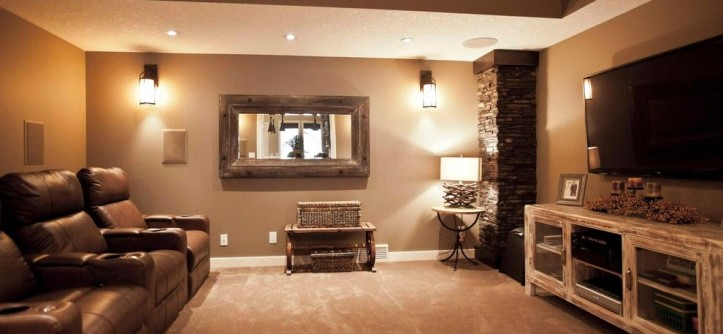 Mannlake for a Traditional Basement with a Media Room and Jubinville Project by Urban Abode