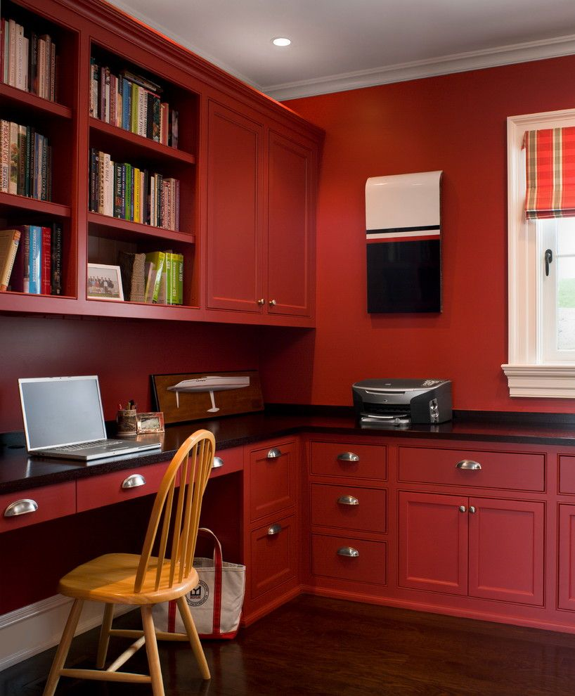 Mannlake for a Transitional Home Office with a Bright Red Office and Ocean Front Estate by Kirby Perkins