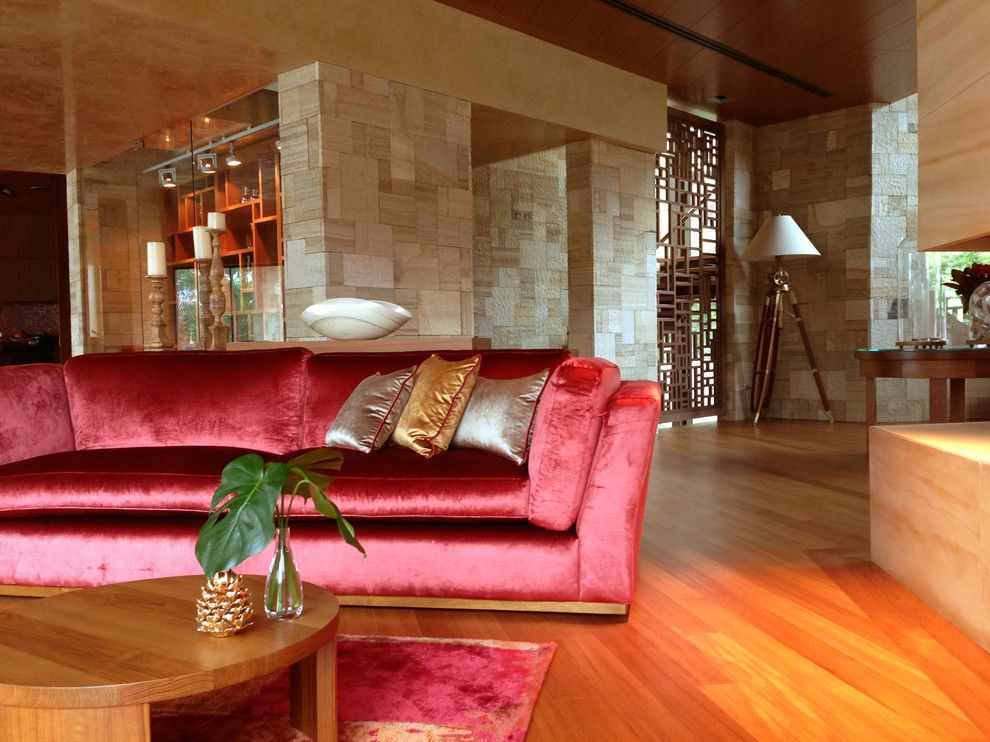 Manuel Canovas for a Contemporary Living Room with a Custom Made Coffee Table and Private Residence   Sydney by S.t.udio Sally Taylor