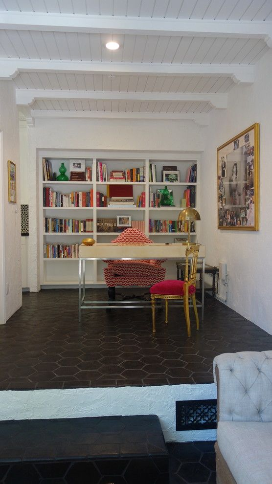 Manuel Canovas for a Eclectic Home Office with a Gold Side Chair in Osborne Little Velvet and Beachwood Canyon by Rice Paddies Interiors