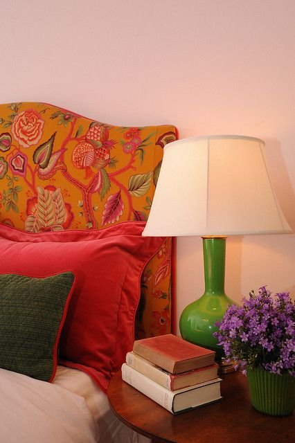 Manuel Canovas for a Traditional Bedroom with a Robert Abbey Genie Lamp and Pink Bedroom by Bossy Color | Annie Elliott Interior Design
