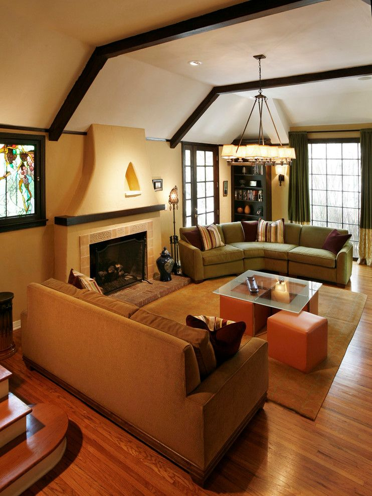 Manuel Canovas for a Transitional Living Room with a Brown Sofa and Vintage Hollywood Hills by Jon Andersen Interiors