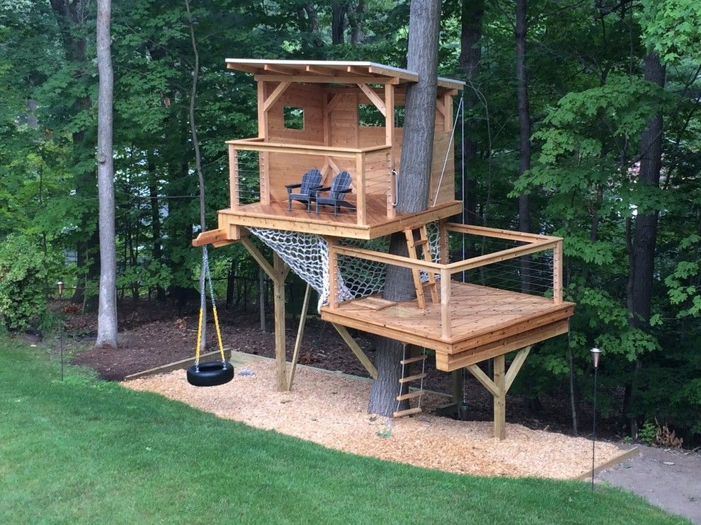 Maple Lawn Md for a Modern Landscape with a Cool Deck and Cedar Stage Treehouse by Living Edge Treehouses & Edible Landscapes