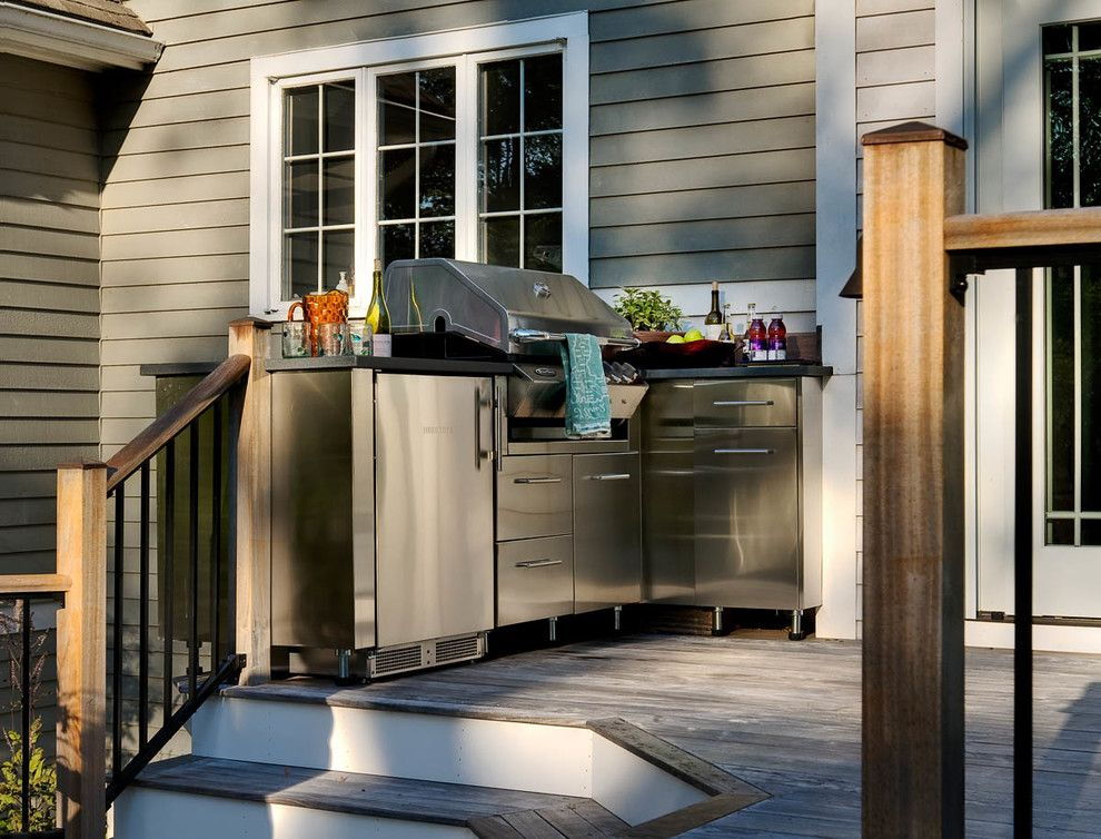 Marbeck Appliance for a  Deck with a Pool House and New Classic by Charles C Hugo Landscape Design