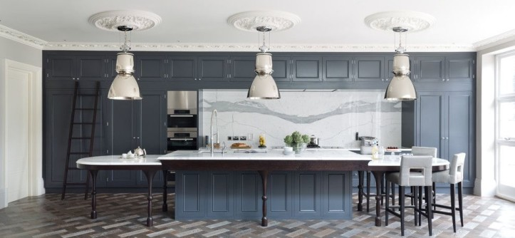 Marble Slab Locations for a Transitional Kitchen with a Classic Design and Grand London Residence by Cochrane Design