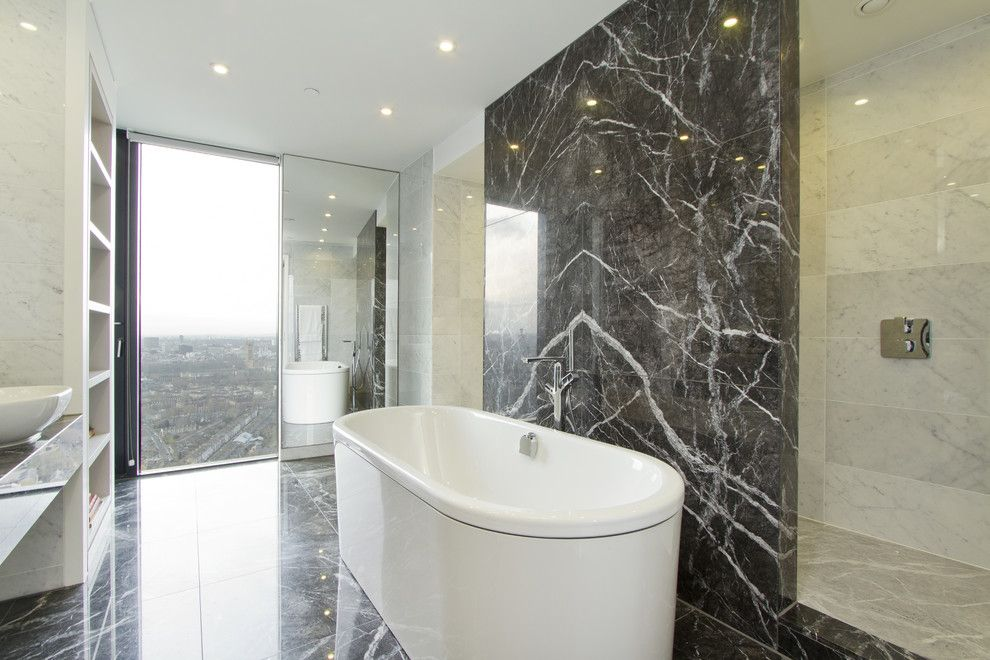 Marble Slab Near Me for a Contemporary Bathroom with a Bowl Ceiling and Strata Tower by Chris Snook