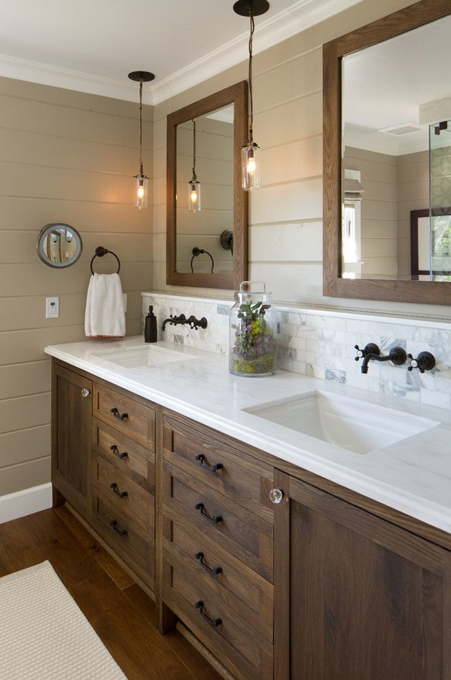 Marble Slab Near Me for a Farmhouse Bathroom with a Bathroom Lighting and Coastal Ranch by Anne Sneed Architectural Interiors