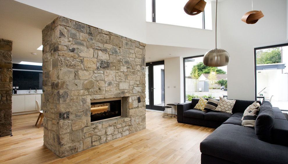 Marquis at Stone Oak for a Contemporary Living Room with a See Through Fireplace and Trim by Optimise Design