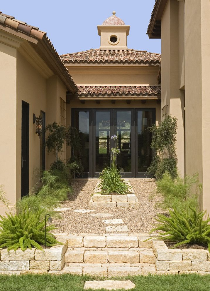 Marquis at Stone Oak for a Mediterranean Landscape with a Walkway and Seven Oaks Showcase by Jauregui Architecture Interiors Construction