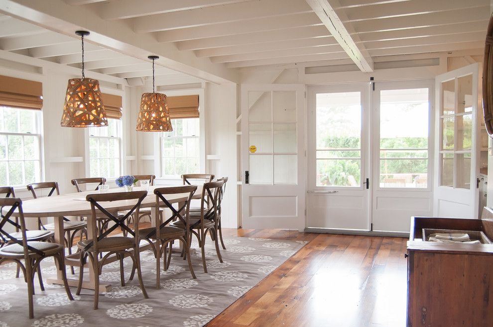 Marwood for a Beach Style Dining Room with a Solid Oak Dining Table and Southern Ct Beach Home by Allee Architecture + Design, Llc