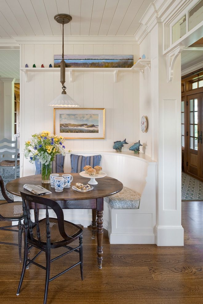 Marwood for a Beach Style Dining Room with a Tongue and Groove Paneling and Charlestown Beach Cottage by Dennis Moffitt Painting