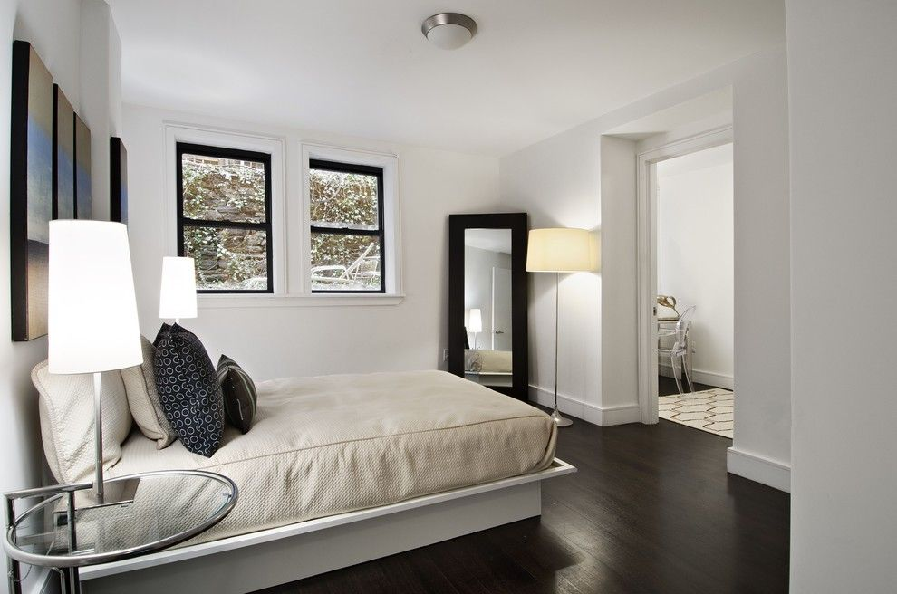 Marwood for a Contemporary Bedroom with a Floor Mirror and Manhattan Tri Plex by Cathy Hobbs Design Recipes