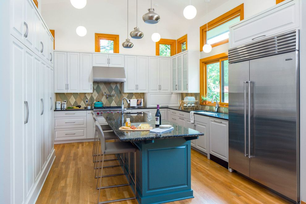 Marwood for a Transitional Kitchen with a Kitchen Island Seating and Transitional Pushes to Modern by Cg&s Design Build