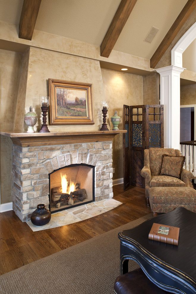 Masonry Veneer for a Traditional Living Room with a Coffee Table and Lake Minnewashta Remodel by Stonewood, Llc