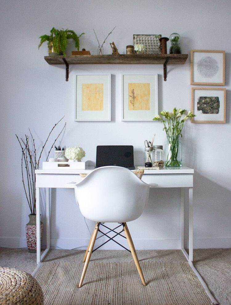 Masons Supply for a Modern Home Office with a Rustic Wood Shelves and Burlington Small Condo Styling by Refreshed Designs