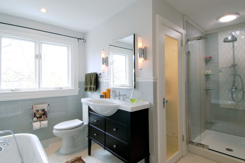 Masons Supply for a Traditional Bathroom with a Tile Pattern and Belvedere House by Denys Builds Designs