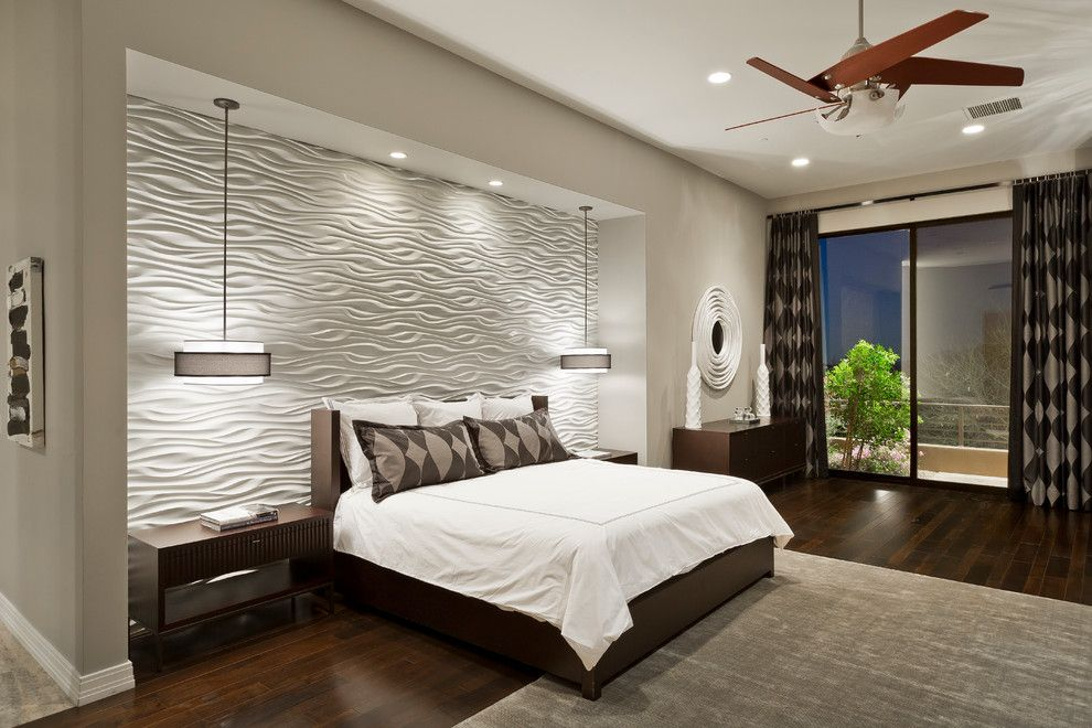 Mattamy Homes Az for a Contemporary Bedroom with a Round Mirror and Desert Mountain  Sunset Canyon  Contemporary by Chris Jovanelly Interior Design