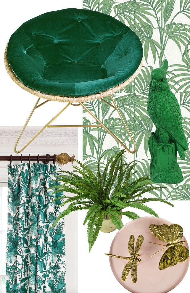 Maximalist for a Eclectic Living Room with a Gold and Key Tips for Styling the Tropical Trend by Miafleur