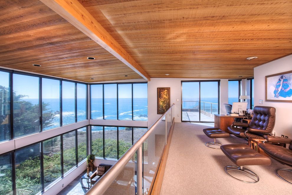 Mazama Country Inn for a Contemporary Home Office with a Glass Panel Railing and Sea Arches of Mendocino Coast by Decker Bullock Sotheby's International Realty