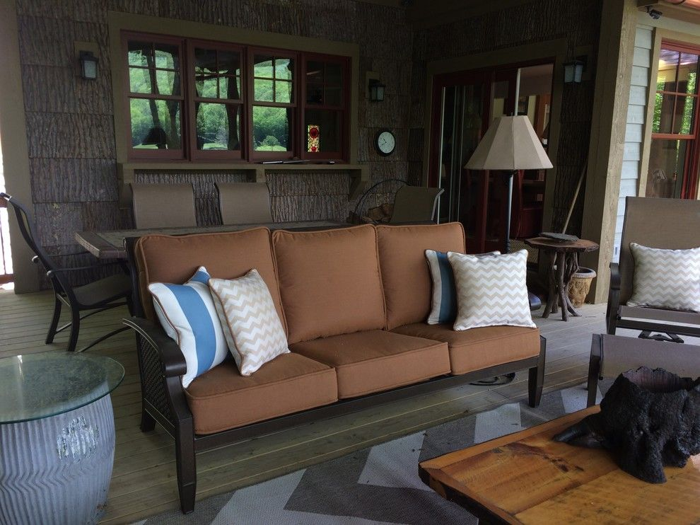 Mazama Country Inn for a Rustic Porch with a Capel Rugs and Grandfather Mountain Luxury Home by Morehouse Interiors